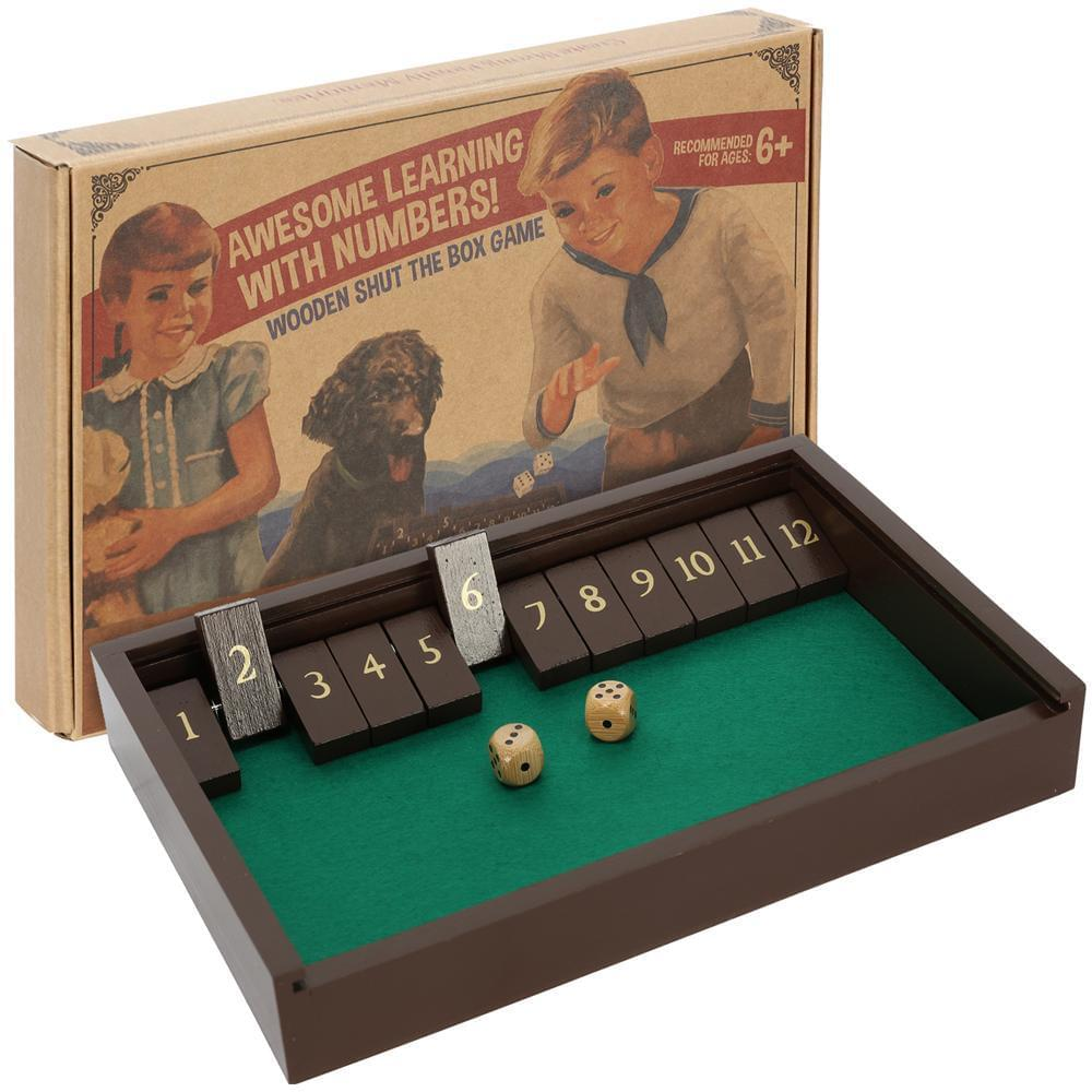 aGreatLife Wooden Shut the box awesome learning with numbers for kids recommended for kids 6 years old and above