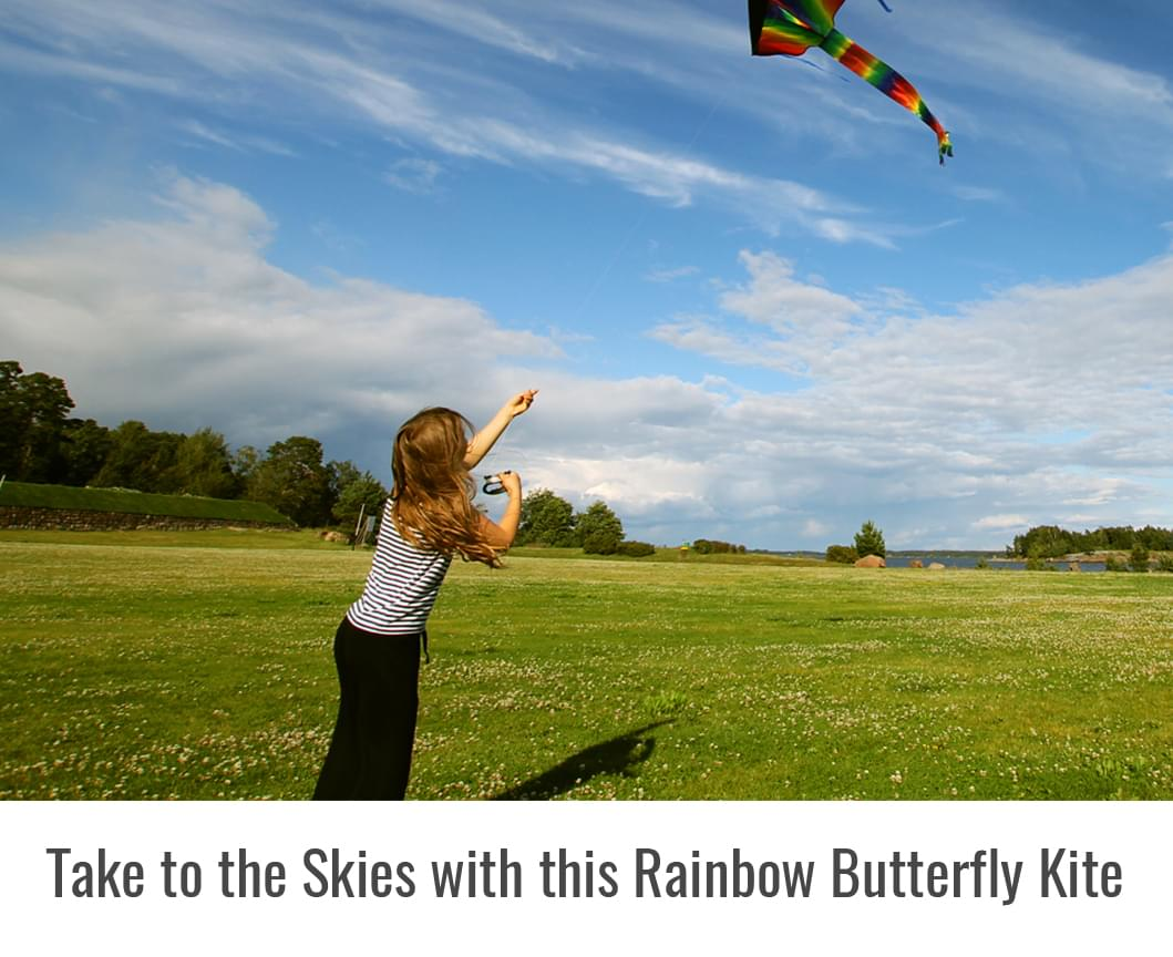 a kid flying agreatlife huge rainbow kite in the park